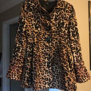 Cheetah Print Pleated Blazer